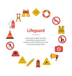 cartoon lifeguard signs banner card circle vector image