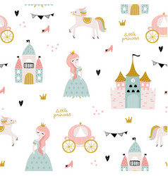 Childish seamless pattern with princess castle vector