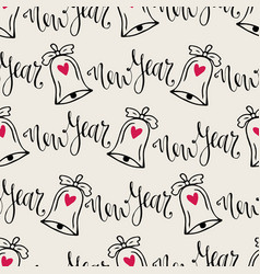 Christmas bells seamless pattern with calligraphy vector