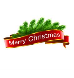 christmas holiday decorations with red ribbon vector image