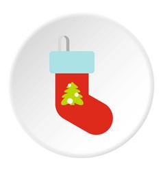 Christmas sock icon circle vector