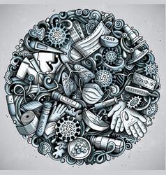 coronavirus hand drawn doodles vector image