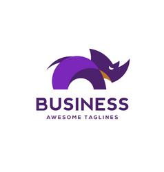creative rhino color logo vector image