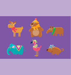cute animals set capybara bear elephant vector image