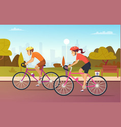 cyclists male and female rides at urban park vector image