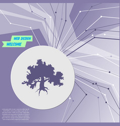 decorative green simple tree icon on purple vector image