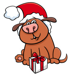 dog with gift on christmas vector image