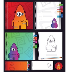 education objects with monster vector image