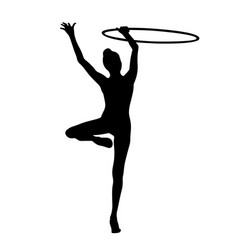 Exercise with hoop rhythmic gymnastics vector