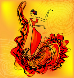 Figure of flamenco dancer and music vector