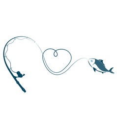 Fishing rod heart and fish vector