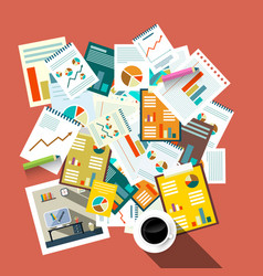 flat design top view paperwork business concept vector image