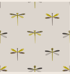 Folk art seamless pattern with dragonflies vector