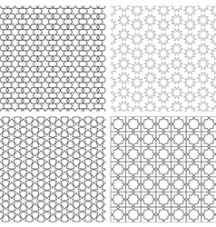 Four delicate seamless patterns in arabian style vector