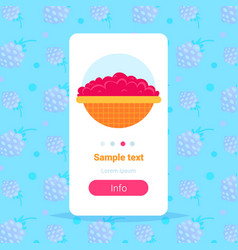 fresh pink raspberry in bowl harvest concept vector image