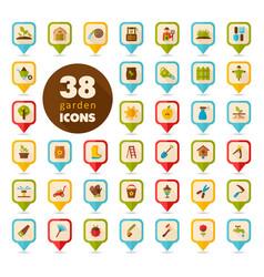 Garden farm flat pin map icon vector