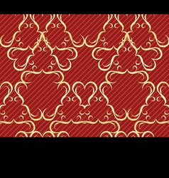 Gold seamless pattern on a red background vector