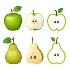Green apple and pear whole half with seeds vector