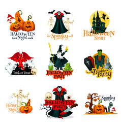 Halloween horror night party monsters badge vector