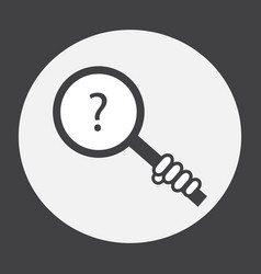 Hand holding a magnifying glass with a question vector