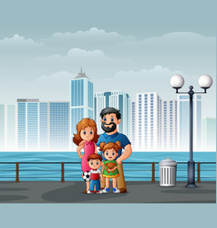 happy family standing at riverbank across vector image