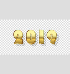 Happy new year background gold 3d number 2019 vector