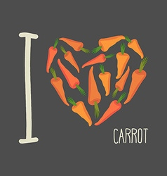 I love carrots Heart of Orange carrots vector image