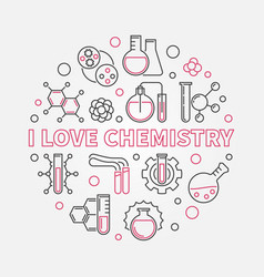 I love chemistry outline round vector