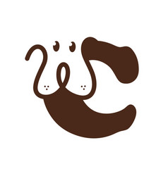 Initial letter c dog vector