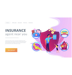 Insurance broker concept landing page vector
