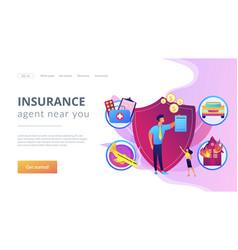 Insurance broker concept landing page vector