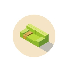 Isometric pink sofa seat couch 3d flat interior vector