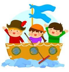 Kids playing pirates vector