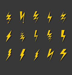 lightning bolt icon set thunder flash electric vector image