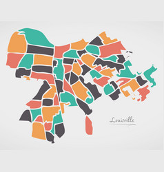 Louisville kentucky map with neighborhoods and vector