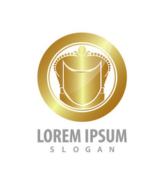 luxury shield circle crown logo concept design vector image