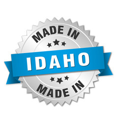 Made in Idaho silver badge with blue ribbon vector