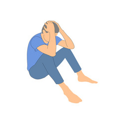 Man sits and holds his head pose vector