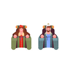 man woman people set with outdoor travel backpack vector image