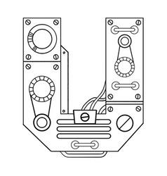 mechanical letter u engraving vector image