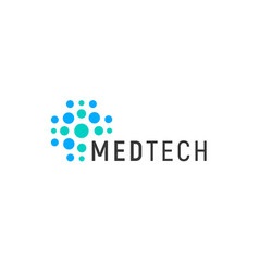 medical technology logo concept abstract blue vector image