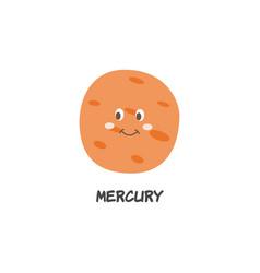 mercury cartoon icon a planet solar system flat vector image