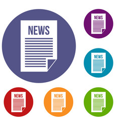 news newspaper icons set vector image