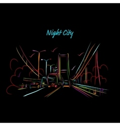 Night city road for your design vector