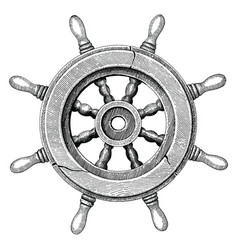 Old steering wheel ship hand drawing vintage style vector