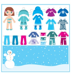 Paper doll with a set of winter clothes vector
