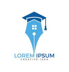 Pen and home logo design vector