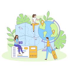 people globe map ticket bag filled outline vector image