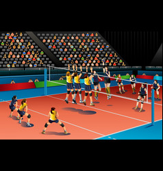 People playing volleyball in the competition vector