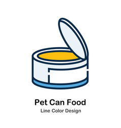 Pet can food line color icon vector